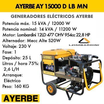 Generador electrico diesel Ayerbe 15000 D LB MN E