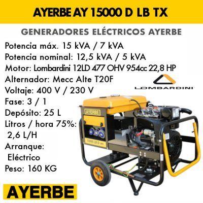 Generador electrico diesel Ayerbe 15000 D TX E
