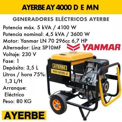 Generador electrico diesel Ayerbe 4000 D E MN