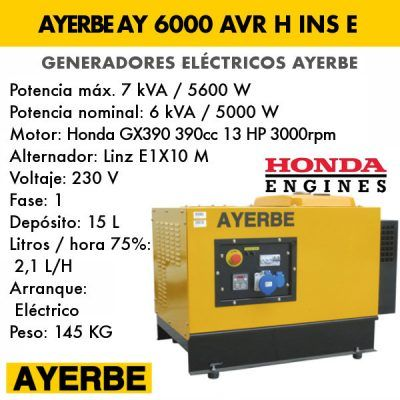 Generador insonorizado Ayerbe AY 6000 AVR H INS E