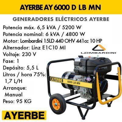 Generador electrico diesel Ayerbe 6000 d lb mn