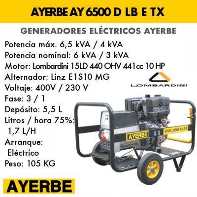 Generador electrico diesel Ayerbe 6500 LB TX E