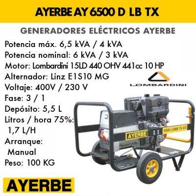 Generador electrico diesel Ayerbe 6500 lb tx