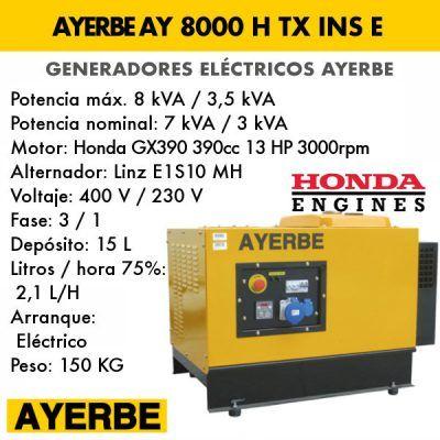 Generador insonorizado Ayerbe AY 8000 H TX INS E