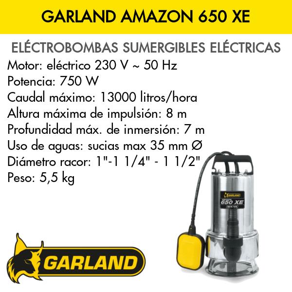 Bomba de agua sumergible eléctrica Garland AMAZON 650 XE