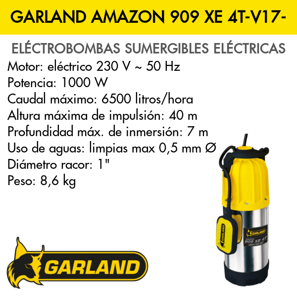 Bomba de agua sumergible eléctrica Garland AMAZON 909 XE 4T-V17