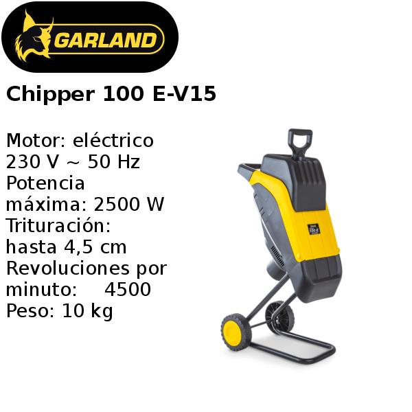 trituradora de ramas garland chipper 100 e-v15