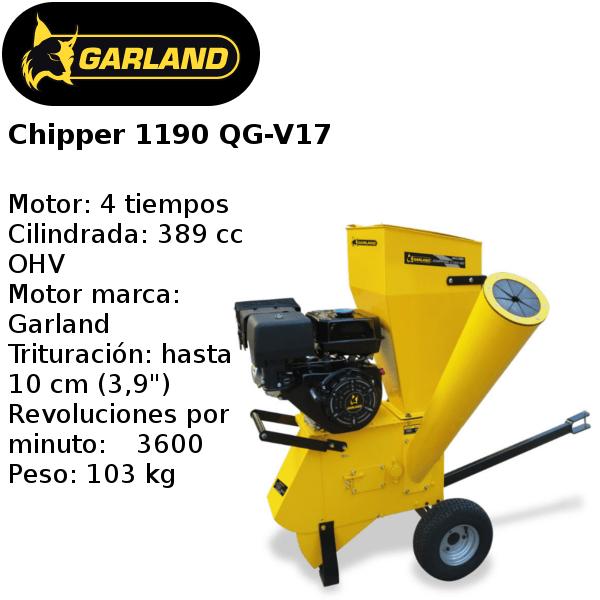 trituradora de ramas garland chipper 1190 qg-v17