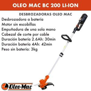 Desbrozadora Oleo Mac BC 200 Li-ion Batería