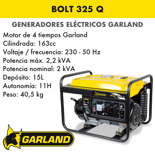 Generador eléctrico Garland Bolt 325 Q