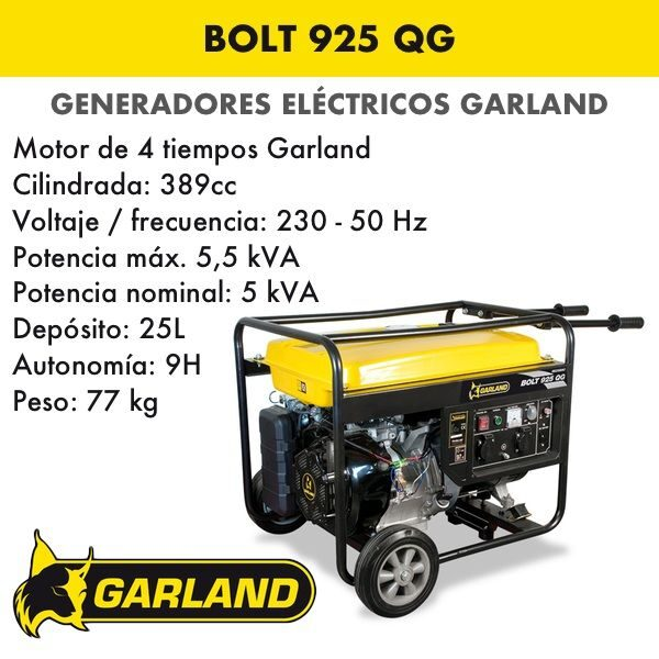 Generador eléctrico Garland Bolt 925 QG