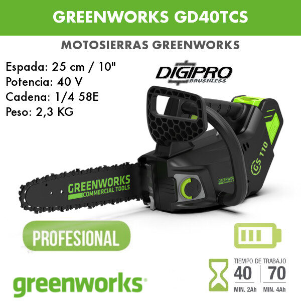 motosierra greenworks CG40TCS