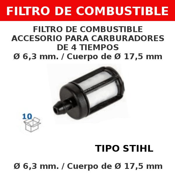 1 6,3 mm 17,5 mm Filtro de combustible accesorio para carburadores de 4 tiempos