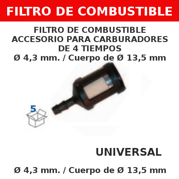 3 4,3 mm 13,5mm Filtro de combustible accesorio para carburadores de 4 tiempos
