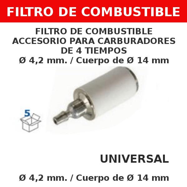 4 4,2 mm 14 mm Filtro de combustible accesorio para carburadores de 4 tiempos