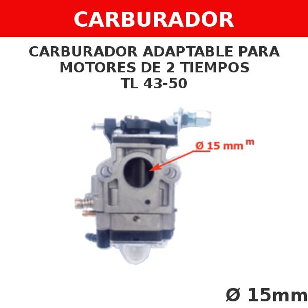 4 TL 43-50 Carburador adaptable para motores de 2 tiempos (sin tornillo regulador)
