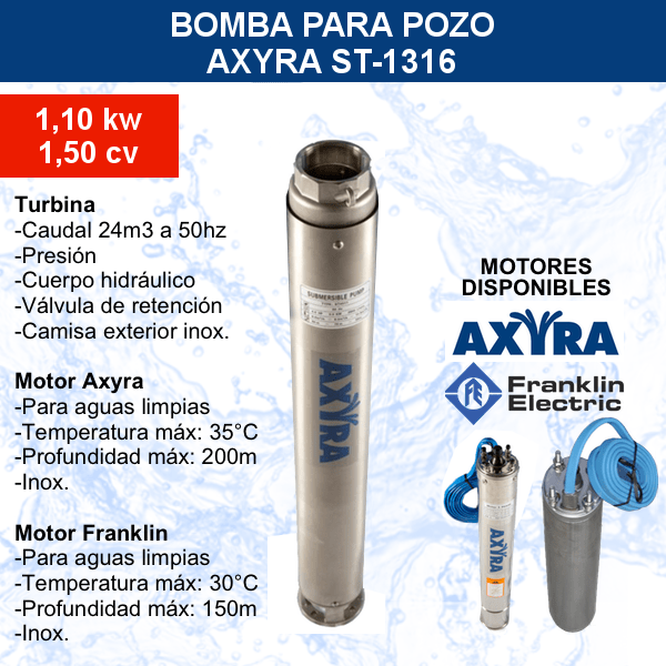 Bomba para pozo AXYRA ST-1316 principal