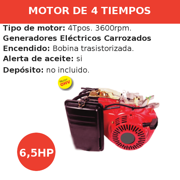 Motores 4 tiempos Generadores Carrozados conico larfo 6,5ph