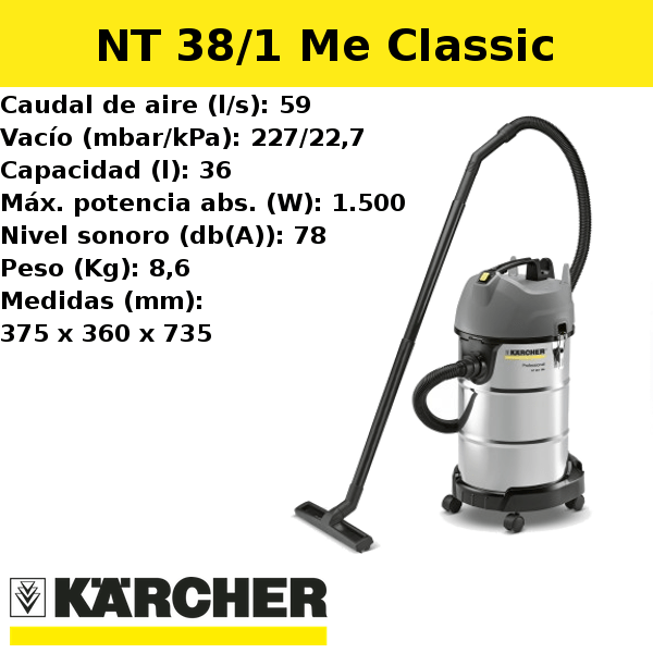 Aspirador Karcher NT 38/1 Me Classic