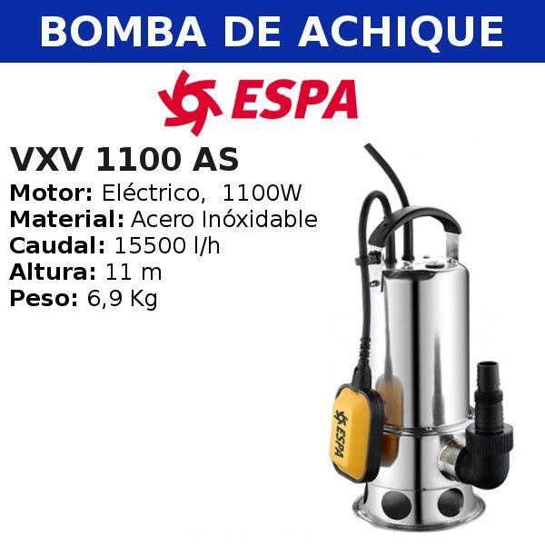 Bomba de agua de achique VX 1100 AS