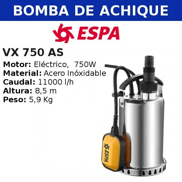 Bomba de agua de achique VX 750 AS