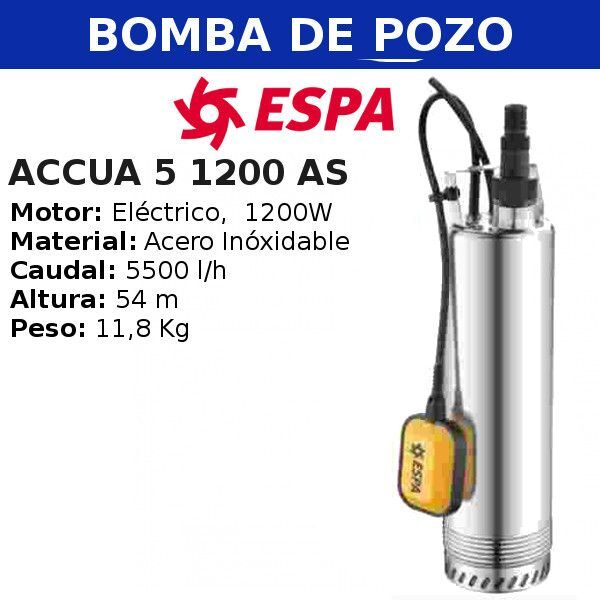 Bomba de pozo espa, yaros aCCUA 5 1200 AS