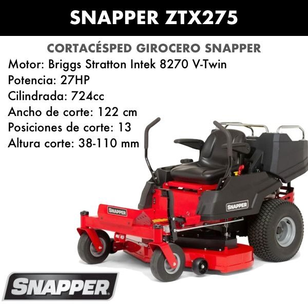 Cortacésped girocero Snapper ZTX275