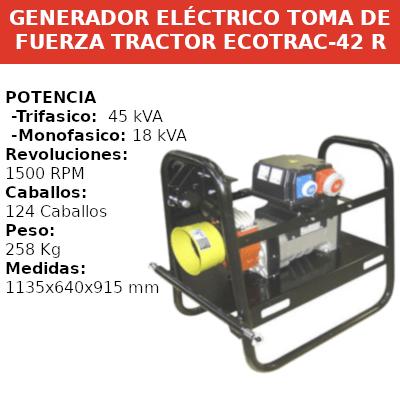 Generadores Eléctricos Toma Fuerza Tractor ECOTRAC-42 Campeón