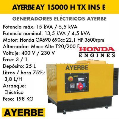 Generador insonorizado Ayerbe AY 15000 H TX INS E