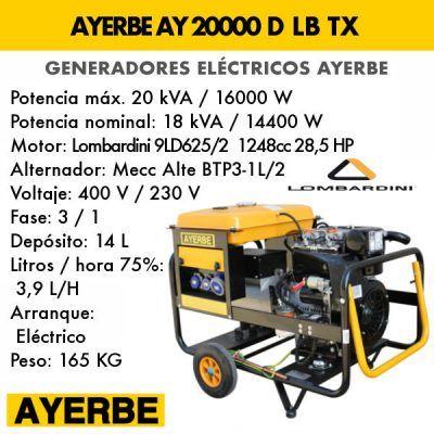Generador eléctrico diesel Ayerbe AY 20000 D LB TX