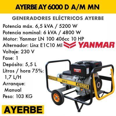 Generador eléctrico diesel Ayerbe AY 6000 D AM MN