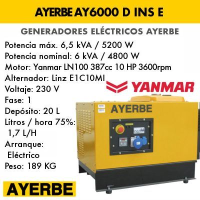 Generador insonorizado Ayerbe AY 6000 D INS E