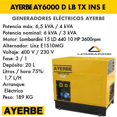Generador insonorizado Ayerbe AY 6000 D LB INS TX E