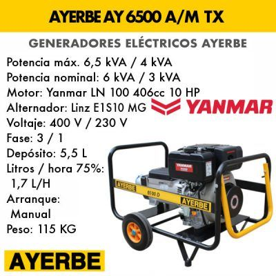 Generador eléctrico diesel Ayerbe AY 6500 D AM TX