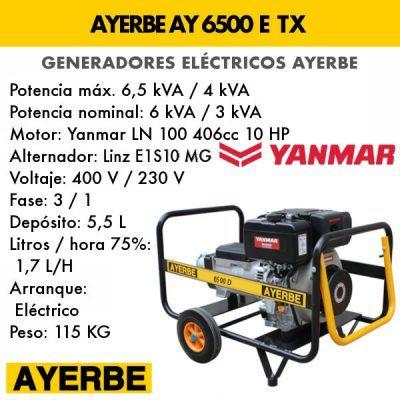 Generador eléctrico diesel Ayerbe AY 6500 D E TX