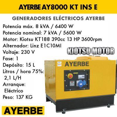 Generador insonorizado Ayerbe AY 8000 KT INS E