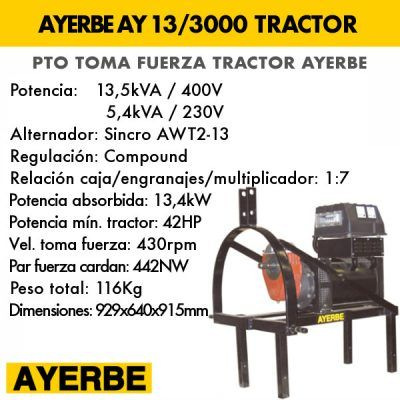 Generador eléctrico toma fuerza tractor Ayerbe AY 13 3000