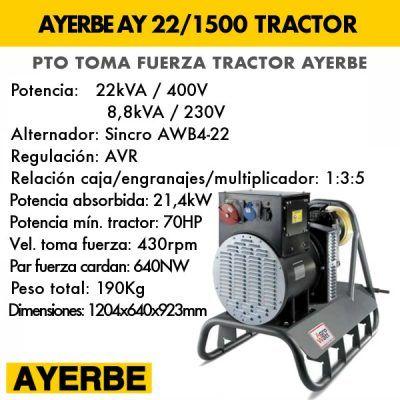Generador eléctrico toma fuerza tractor Ayerbe AY 22 1500
