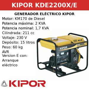 Generador Eléctrico KDE2200X-E de Diesel