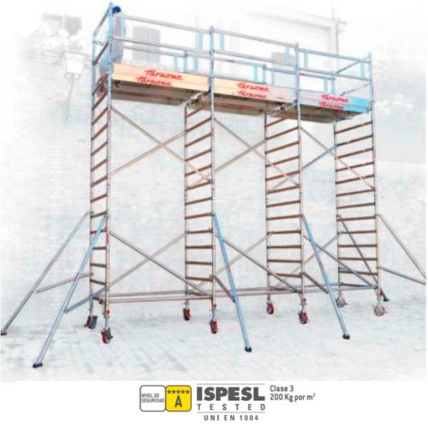 Andamios triple de aluminio Faraone TOP SYSTEM DDD 135×180-180-180cm 600KG Max