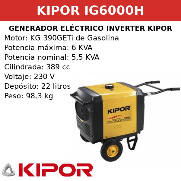 Generador Eléctrico Inverter IG6000H de Gasolina