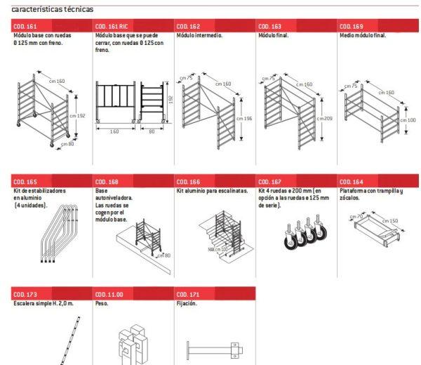 Aluminum scaffolding Faraone RAPIDO 160