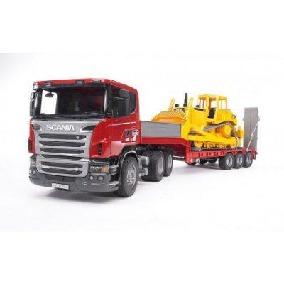 Camión Scania y bulldozer Caterpillar juguete escala 1:16