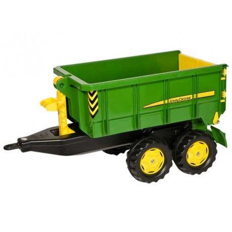 Remolque 2 ejes de juguete John Deere adaptable a tractores