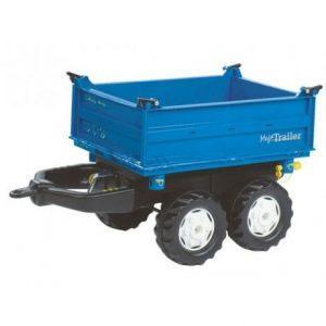 Remolque de juguete RollyToys azul de dos ejes para tractor a pedales
