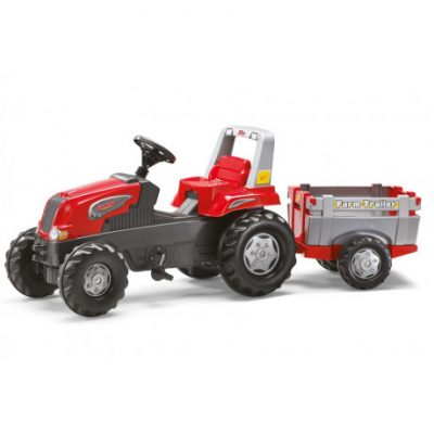 Tractor a pedales de juguete Rolly Junior con remolque