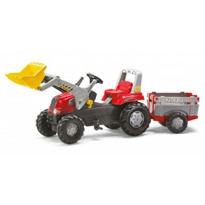 Tractor con pala a pedales de juguete Rolly Junior con Remolque