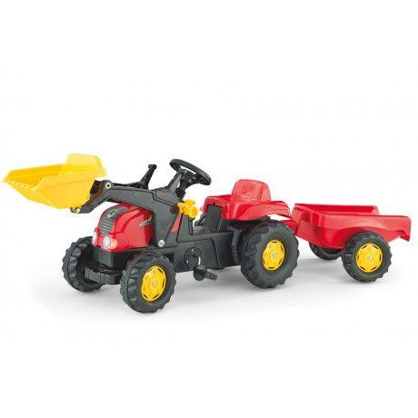 Tractor con pala a pedales de juguete Rolly Kid Rojo con remolque
