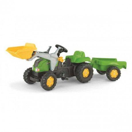 Tractor con pala a pedales de juguete Rolly Kid Verde RollyToys con remolque