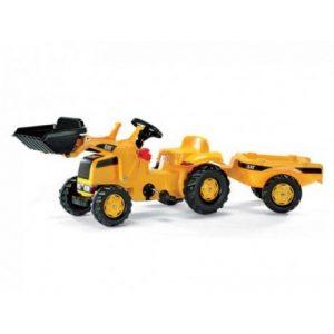 Tractor con pala a pedales de juguete Caterpillar RollyToys con remolque
